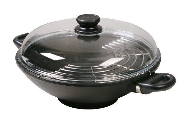 SKK Индукционна тенджера УОК със стъклен капак и приставка за готвене на пара - Ø 32см
