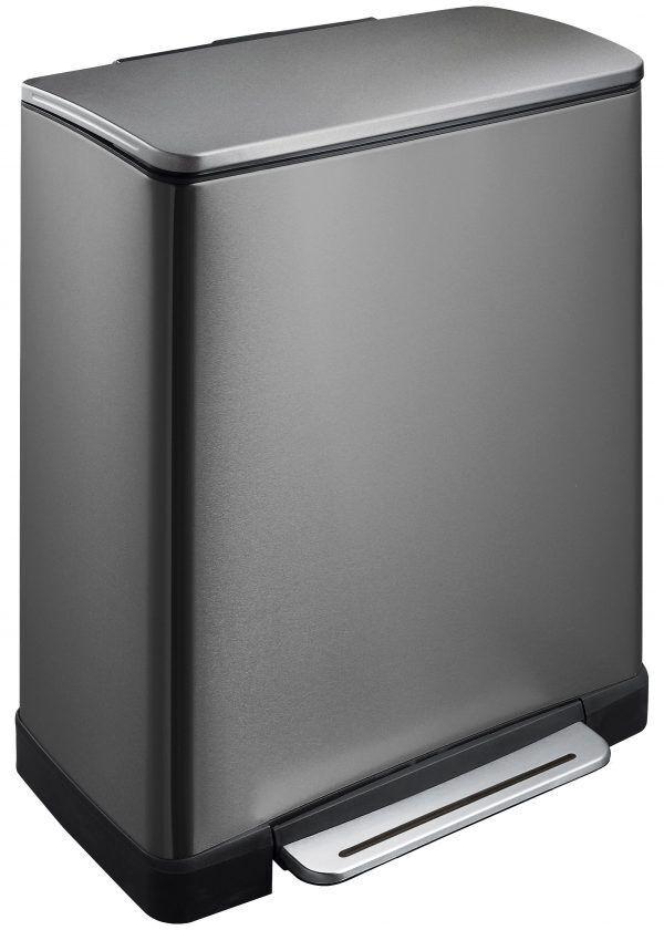"""EKO Кош за разделно събиране на отпадъци с педал """"E-CUBE"""" - (28 + 18) литра - графит/инокс"""