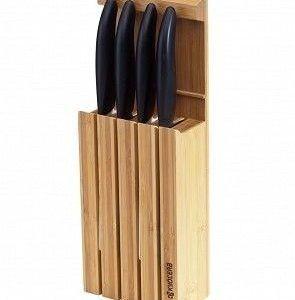 KYOCERA Комплект от 4 бр.керамични ножове ( бяло острие / черна дръжка) + бамбуков блок