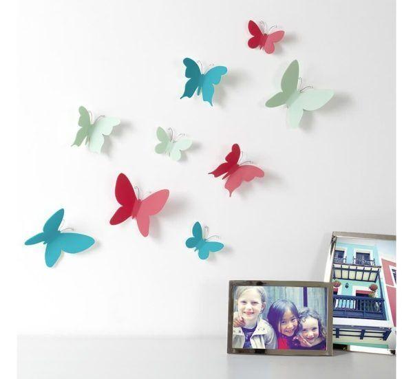 deco murale originale umbra 9 papillons 3d couleur mariposa Марка: Umbra HK Limited <br />Модел: UMBRA 470130-022<br />Доставка: 2-4 работни дни<br />Гаранция: 2 години