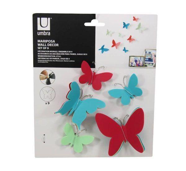 deco murale originale umbra 9 papillons 3d couleur mariposa 3 Марка: Umbra HK Limited <br />Модел: UMBRA 470130-022<br />Доставка: 2-4 работни дни<br />Гаранция: 2 години
