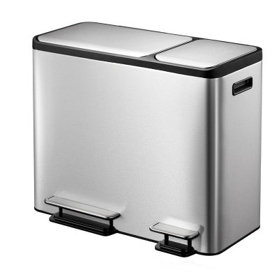 """EKO Кош за разделно събиране на отпадъци с 2 педала """"ECOCASA"""" - (30 + 15) литра - мат"""