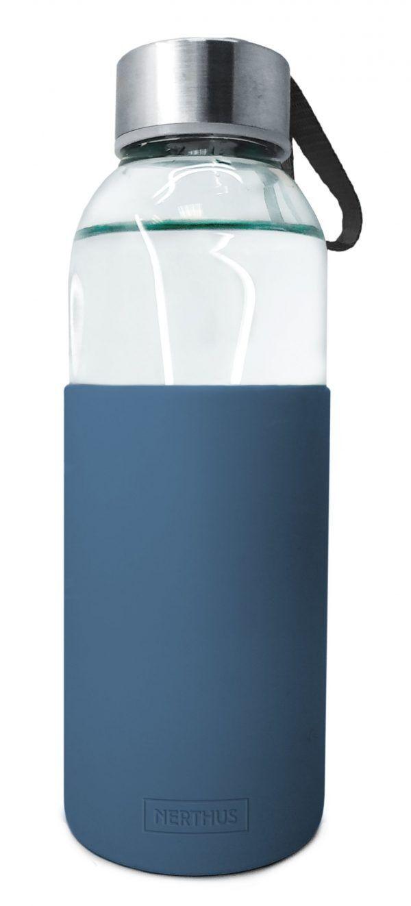 Vin Bouquet/Nerthus Стъклена бутилка със силиконов протектор - 400 мл. - синя