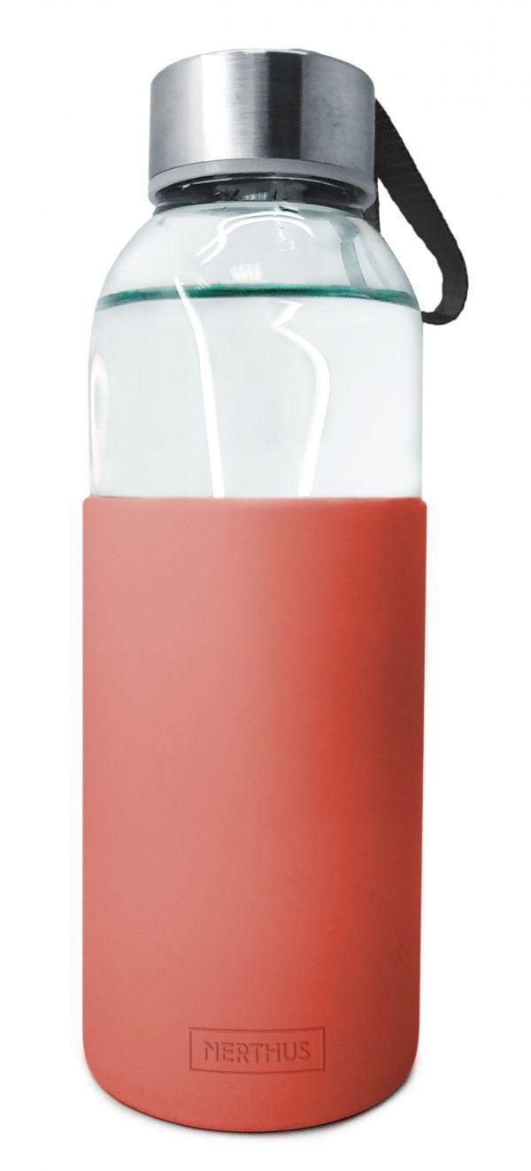 Vin Bouquet/Nerthus Стъклена бутилка със силиконов протектор - 400 мл. - червена