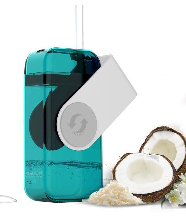 """ASOBU Кутия за течности от Тритан със сламка """"JUICY"""" - 290 мл - цвят бял/син"""