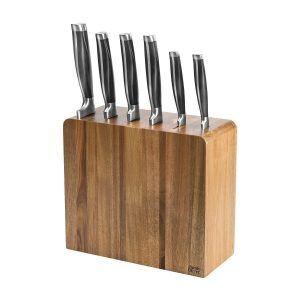 JAMIE OLIVER Комплект от 6 броя ножове в блок от акация