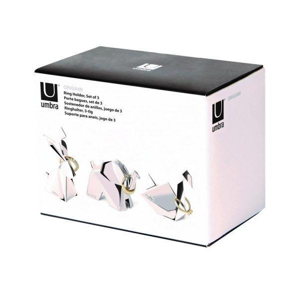 origami animal ring holders chrome swan elephant rabbit set of 3 p8282 33797 image