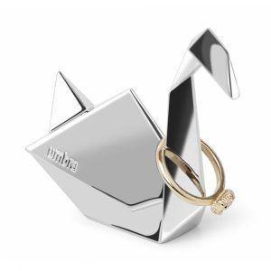 """UMBRA Поставка за пръстени """"ORIGAMI SWAN"""" - лебед - цвят хром"""