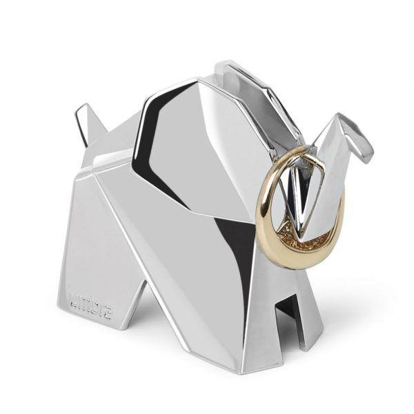 origami animal ring holders chrome swan elephant rabbit set of 3 p8282 33799 image