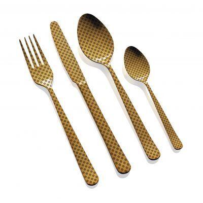 """HERDMAR Комплект прибори за хранене """"OSLO № 11"""" - 24 части - старо злато"""