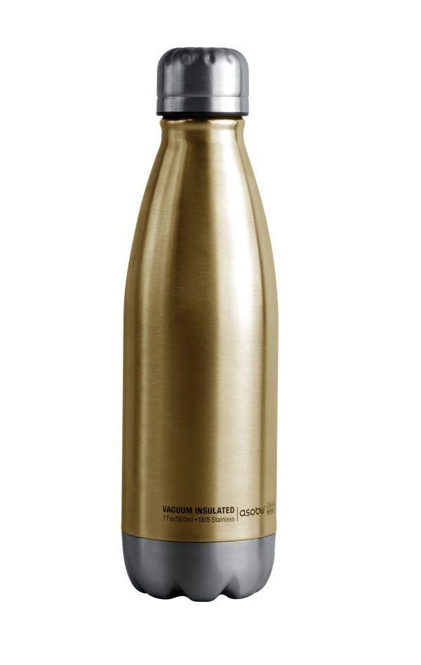 """ASOBU Двустенна термо бутилка с вакуумна изолация """"CENTRAL PARK"""" - 500 мл - цвят златиста/сребриста"""
