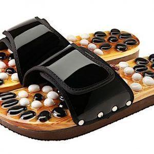 CASADA Масажни чехли за рефлексотерапия с естествени камъни - черен цвят- размер XL / № 42 - 44
