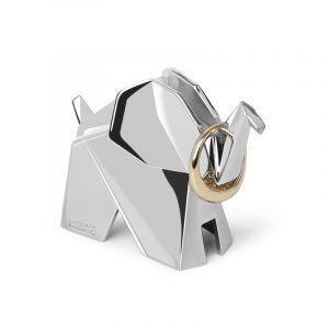 """UMBRA Поставка за пръстени """"ORIGAMI ELEPHANT"""" - слон - цвят хром"""