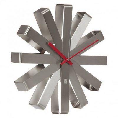 """UMBRA Стенен часовник """"RIBBON"""" - цвят инокс"""