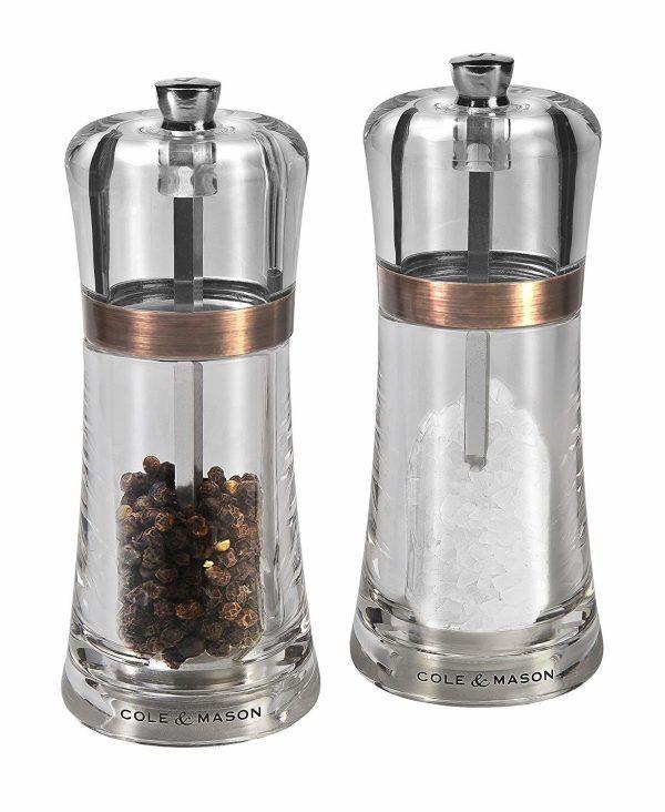 """COLE & MASON Комплект мелнички за сол и пипер """"FONTWELL"""" - 14 см. - цвят мед"""