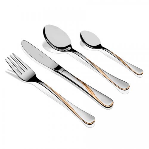 """HERDMAR Комплект прибори за хранене """"KARINA"""" - 36 части с позлатен елемент"""