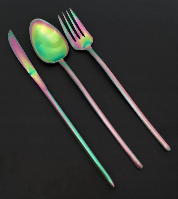 """HERDMAR Комплект прибори за хранене """"STICK""""- 36 части - Rainbow / дъга / - PVD покритие"""