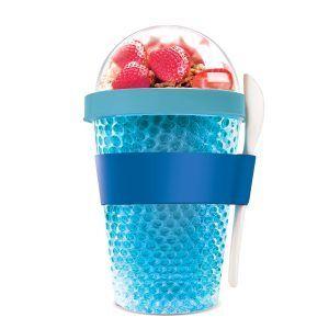 """ASOBU Двустенна охлаждаща чаша с прибор """"CHILL YO 2 GO"""" - цвят син"""