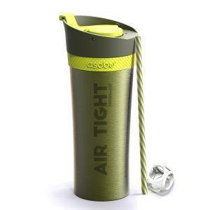 """ASOBU Двустенна термо чаша """"FRESH N GO"""" с вакуумна изолация и система AIR PUMP - 500 мл - цвят зелена"""