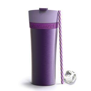 """ASOBU Двустенна термо чаша """"FRESH N GO"""" с вакуумна изолация и система AIR PUMP - 500 мл - цвят лилав"""