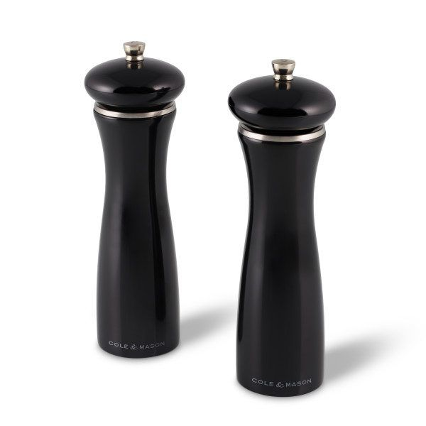 """COLE&MASON Комплект мелнички за сол и пипер """"SHERWOOD BLACK GLOSS"""" - 20 см. - цвят черен"""