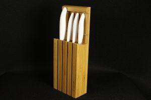 KYOCERA Комплект от 4 бр.керамични ножове ( бяло острие / бяла дръжка) + бамбуков блок