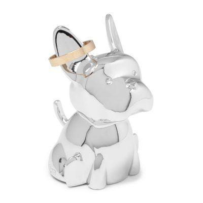"""UMBRA Поставка за пръстени """"ZOOLA FRENCHIE"""" - куче - цвят хром"""