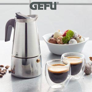 """GEFU Комплект стоманена кафеварка за( 4 бр кафета)""""EMILIO"""" и 2 бр двустенни чаши за еспресо"""