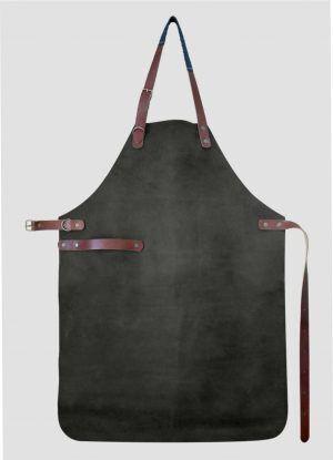 YAKO & CO Ръчно изработена кожена престилка - черен цвят