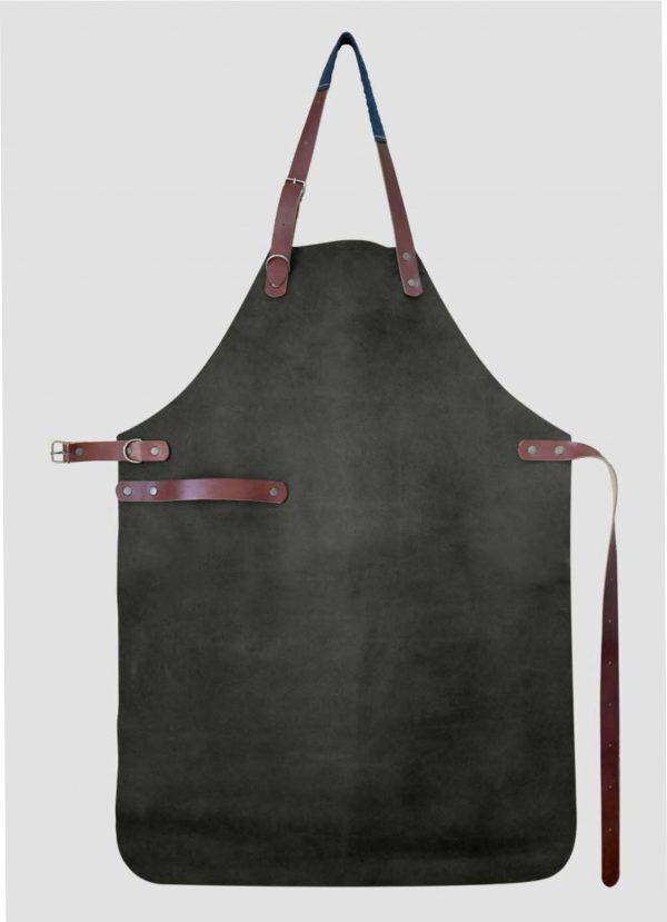 YACO & CO Ръчно изработена кожена престилка - черен цвят