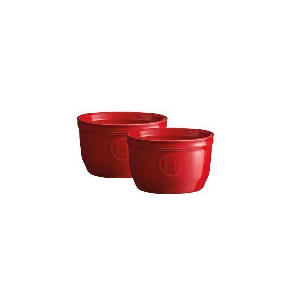 """EMILE HENRY Комплект 2 броя керамични купички / рамекини """"RAMEKINS SET N°9"""" - цвят червен"""