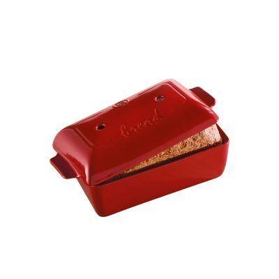 """EMILE HENRY Керамична правоъгълна форма за печене на хляб """"BREAD LOAF BAKER"""" - 28 х 13 х 12 см - цвят червен"""