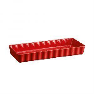 """EMILE HENRY Керамична форма за тарт """"SLIM RECTANGULAR TART DISH""""- цвят червен"""