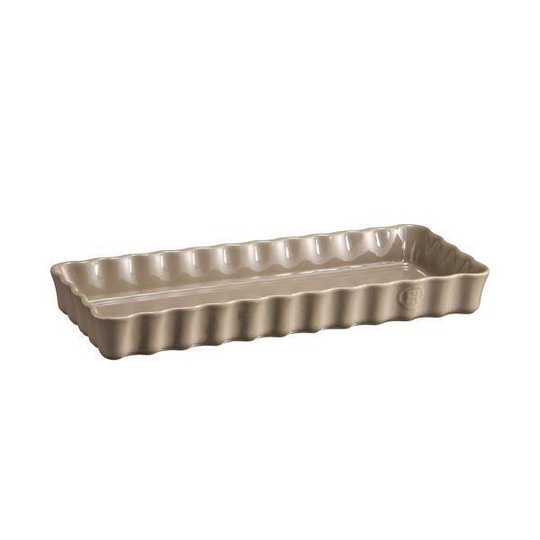"""EMILE HENRY Керамична форма за тарт """"SLIM RECTANGULAR TART DISH""""- цвят сиво-бежов"""