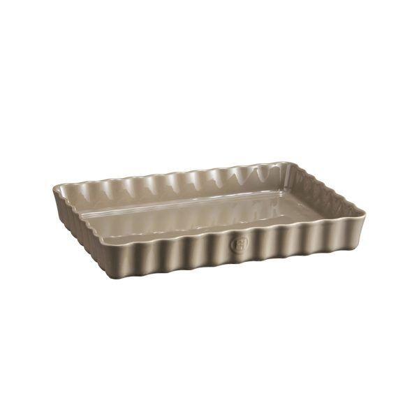 """EMILE HENRY Керамична форма за тарт """"DEEP RECTANGULAR TART DISH"""" - цвят сиво-бежов"""