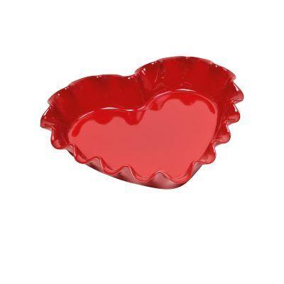 """EMILE HENRY Керамична форма за тарт (сърце) """"RUFFLED HEART DISH"""" - 33 х 29 см - цвят червен"""