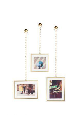 """UMBRA Комплект от 3бр. висящи рамки за снимки """"FOTOCHAIN"""" - цвят месинг мат"""