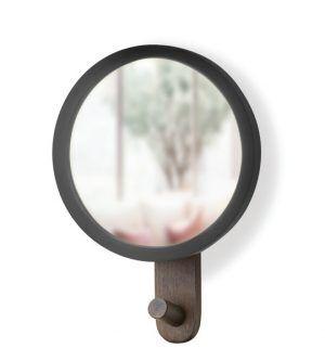 """UMBRA Огледало за стена със закачалка """"HUB"""" - цвят черен / орех"""