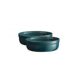 """EMILE HENRY Комплект 2 броя керамични купички за крем брюле """"2 CRÈME BRÛLÉES RAMEKINS SET""""-  цвят синьо-зелен"""