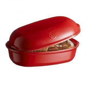 "EMILE HENRY Керамична елипсовидна форма за печене на хляб ""ARTISAN BREAD BAKER"" - 34 х 22 х 15 см - цвят червен"