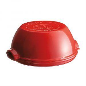 """EMILE HENRY Керамична форма за печене на хляб """"ROUND BREAD BAKER"""" - цвят червен"""