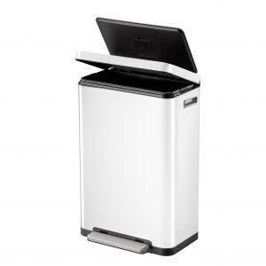 """EKO Кош за отпадъци с педал """"X-CUBE""""- 30 литра - бял"""