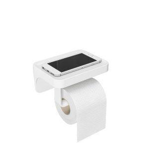"""UMBRA Стойка за тоалетна хартия с рафт за аксесоари """"FLEX SURE-LOCK"""" - бял цвят"""