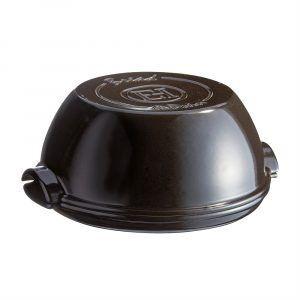 """EMILE HENRY Керамична кръгла форма за печене на хляб """"ROUND BREAD BAKER"""" - цвят черна"""