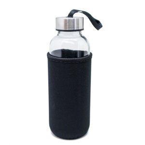 Nerthus Стъклена бутилка с неопренов протектор - 400 мл. - цвят черен