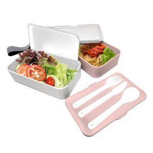 Nerthus Комплект херметически кутии за храна с прибори - 2 х 500 мл. - цвят розов/бял