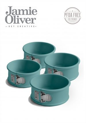 JAMIE OLIVER Комплект от 4бр форми с падащо дъно Ø10см - цвят атлантическо зелено