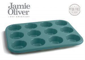 JAMIE OLIVER Форма за 12 бр. мъфини - 35 х 27см - цвят атлантическо зелено