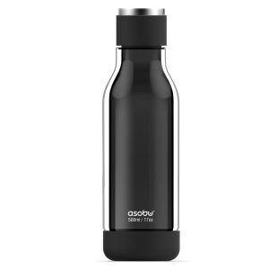 """ASOBU Двустенна бутилка """"INNER PEACE"""" стъкло/тритан - 500 мл - цвят черен"""