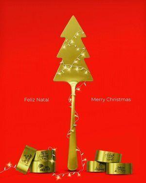 """HERDMAR Подаръчен коледен сет """"CHRISTMAS GIFT"""" - 7 части - позлатени/мат"""